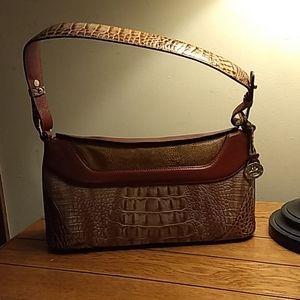 Brahmin brown croc w/tan snake embossed bag